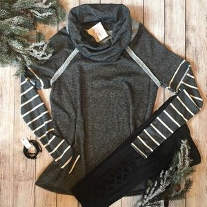 Sweaters - NEW Striped Long Sleeve Grey Cowl Neck Terry
